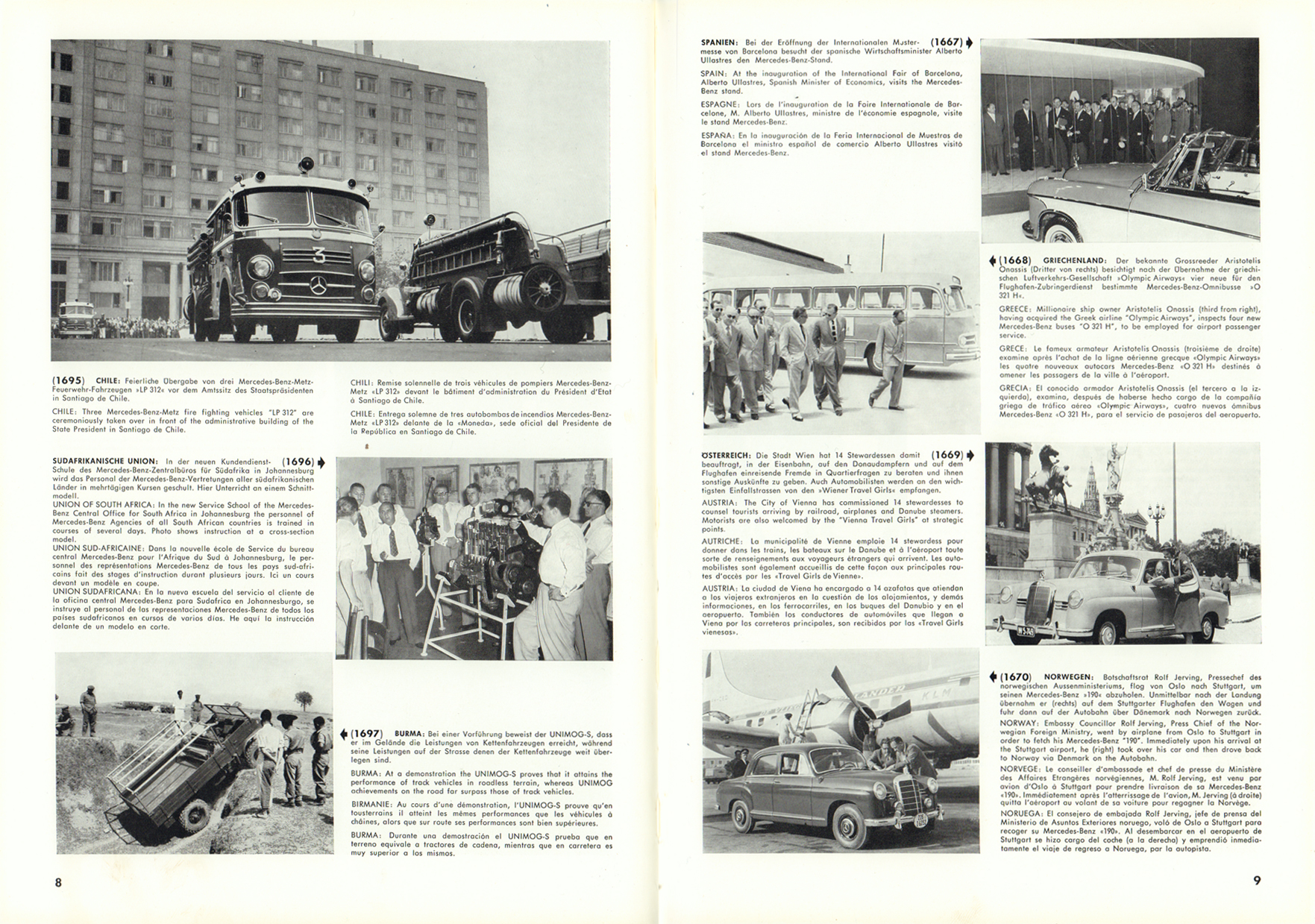 (REVISTA): Periódico In aller welt n.º 12 - Mercedes-Benz no mundo - 1957 - multilingue 005