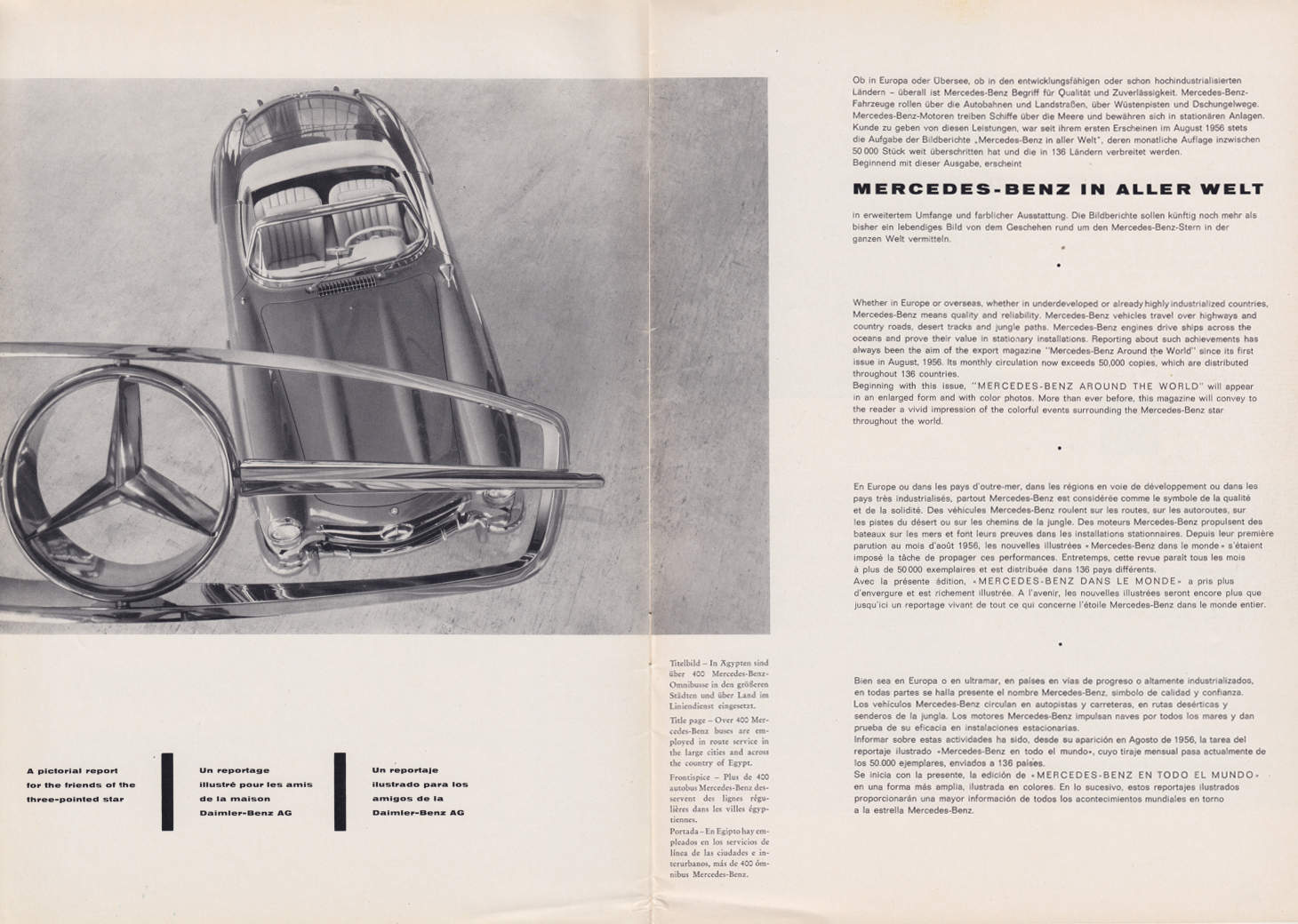 (REVISTA): Periódico In aller welt n.º 29 - Mercedes-Benz no mundo - 1959 - multilingue 002