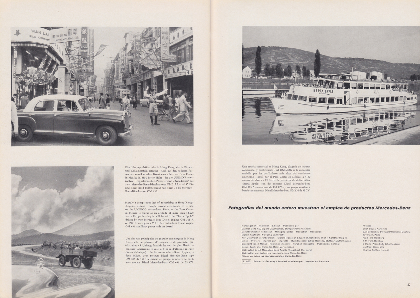 (REVISTA): Periódico In aller welt n.º 33 - Mercedes-Benz no mundo - 1959 - multilingue 014