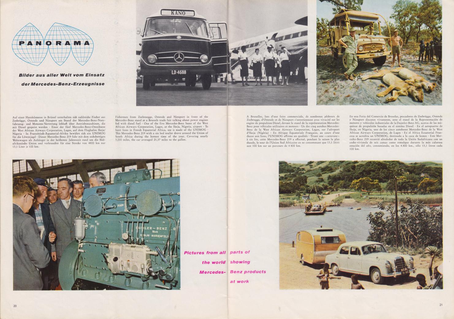 (REVISTA): Periódico In aller welt n.º 37 - Mercedes-Benz no mundo - 1959 - multilingue 011