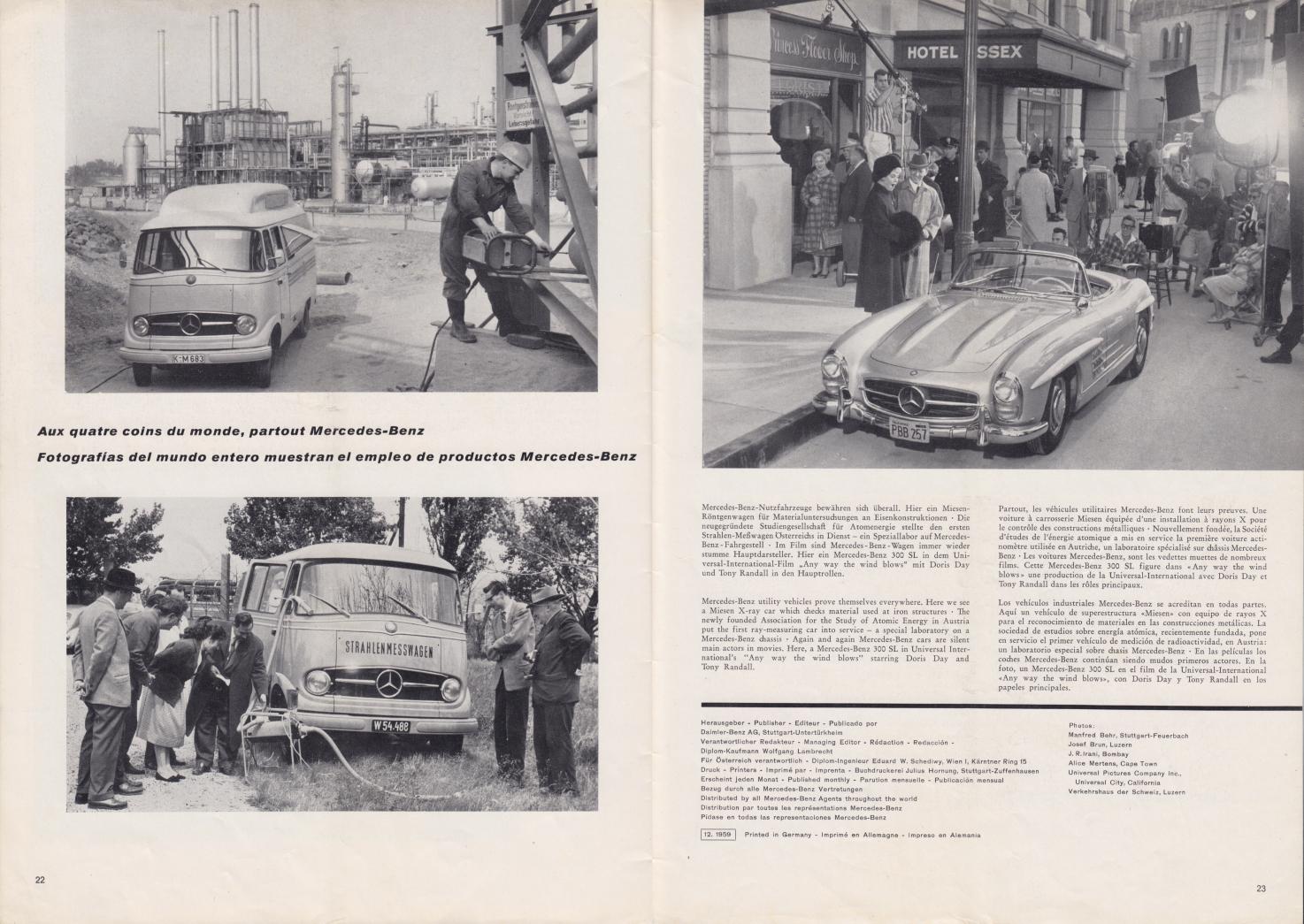 (REVISTA): Periódico In aller welt n.º 37 - Mercedes-Benz no mundo - 1959 - multilingue 012