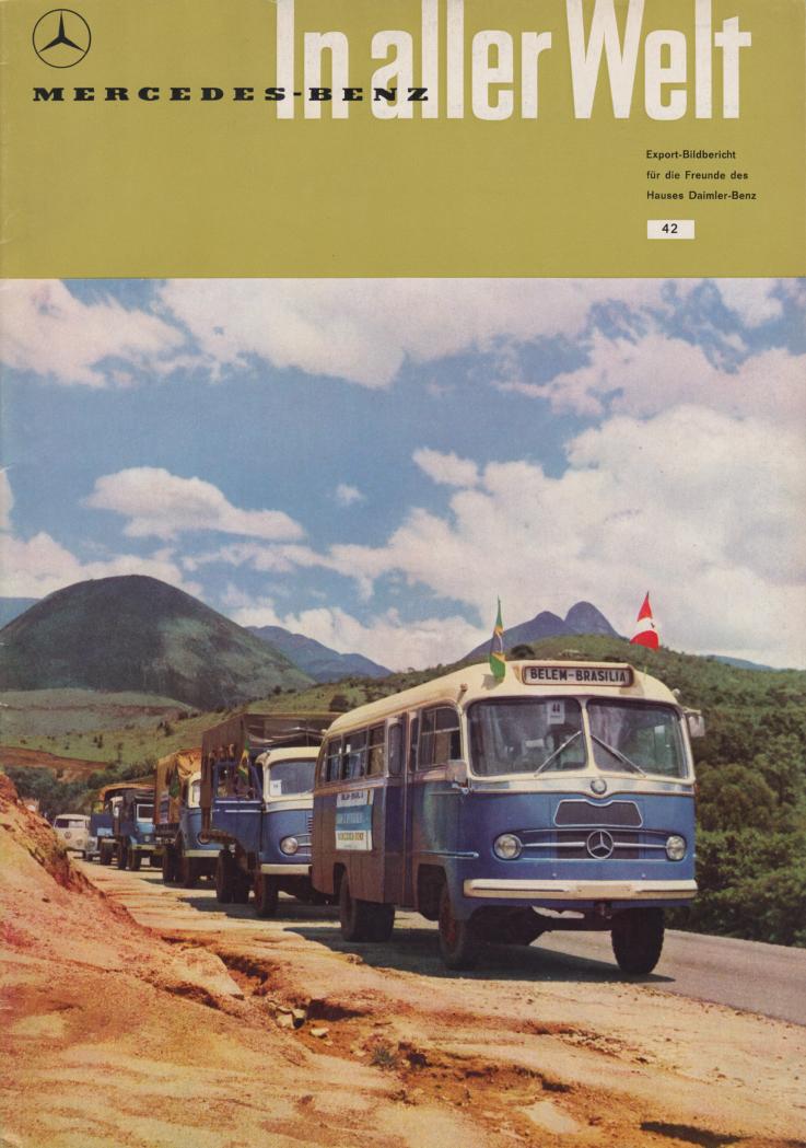 (REVISTA): Periódico In aller welt n.º 42 - Mercedes-Benz no mundo - 1960 - multilingue - com imagens do Brasil e construção de Brasília 001