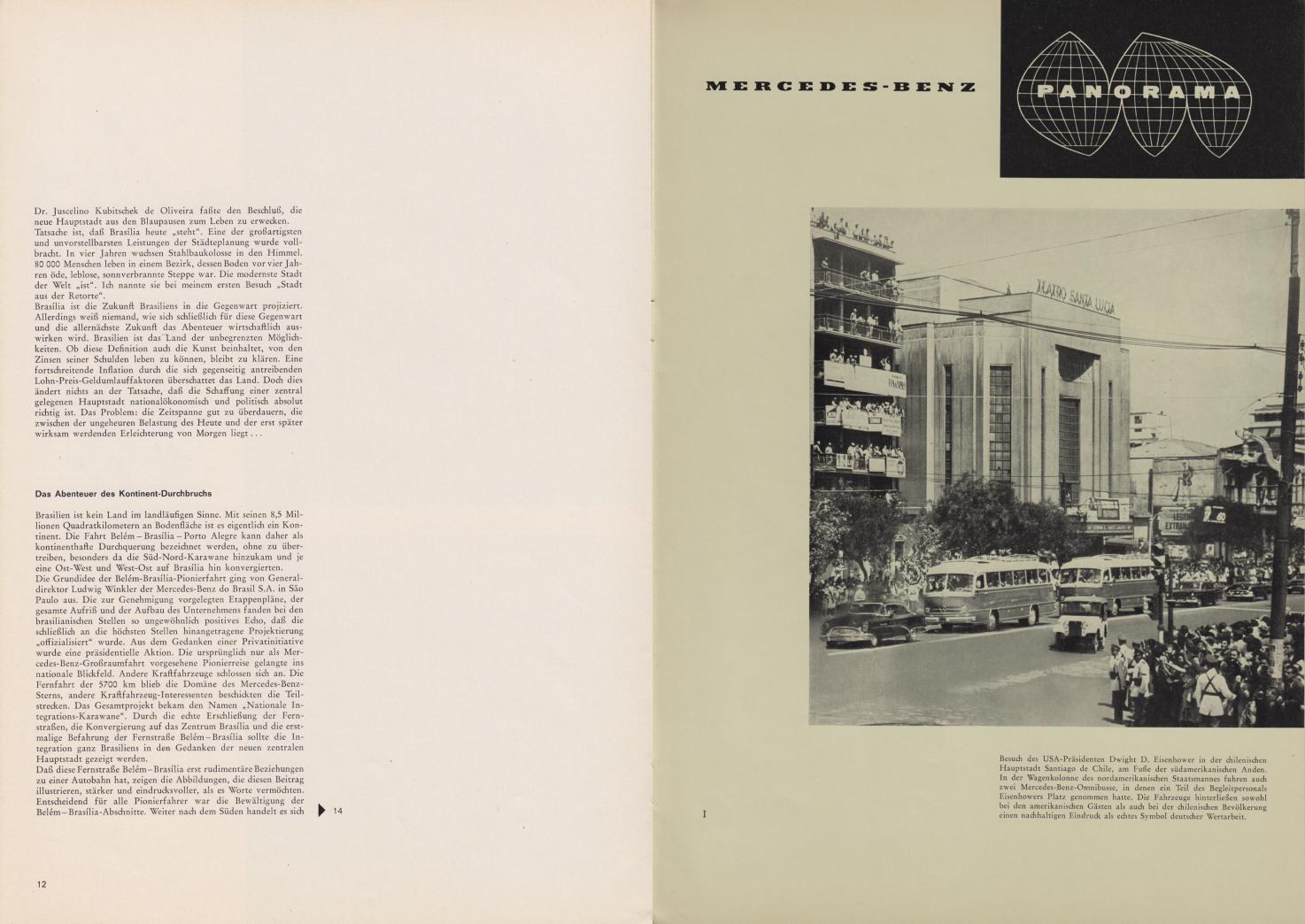 (REVISTA): Periódico In aller welt n.º 42 - Mercedes-Benz no mundo - 1960 - multilingue - com imagens do Brasil e construção de Brasília 007