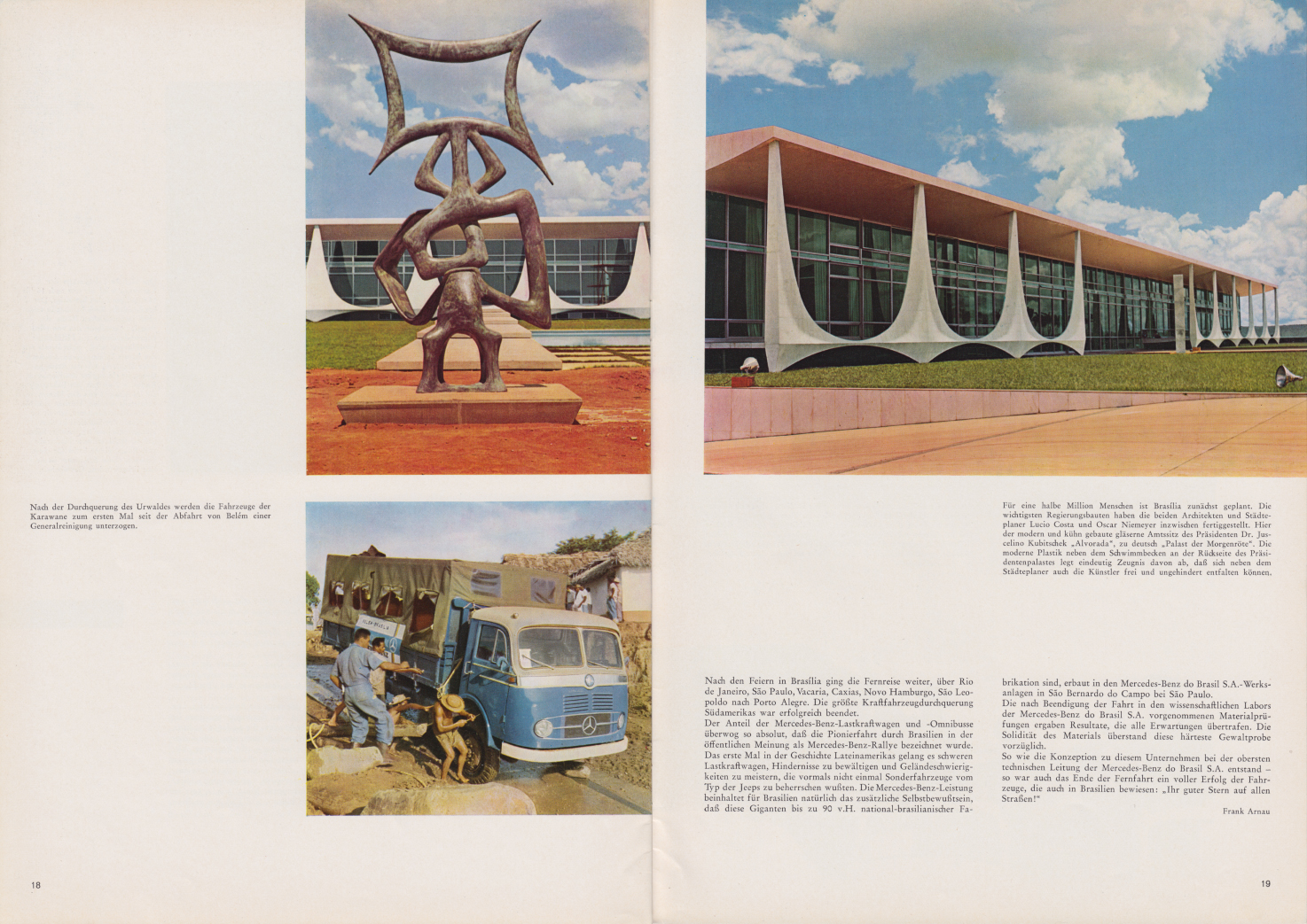 (REVISTA): Periódico In aller welt n.º 42 - Mercedes-Benz no mundo - 1960 - multilingue - com imagens do Brasil e construção de Brasília 012