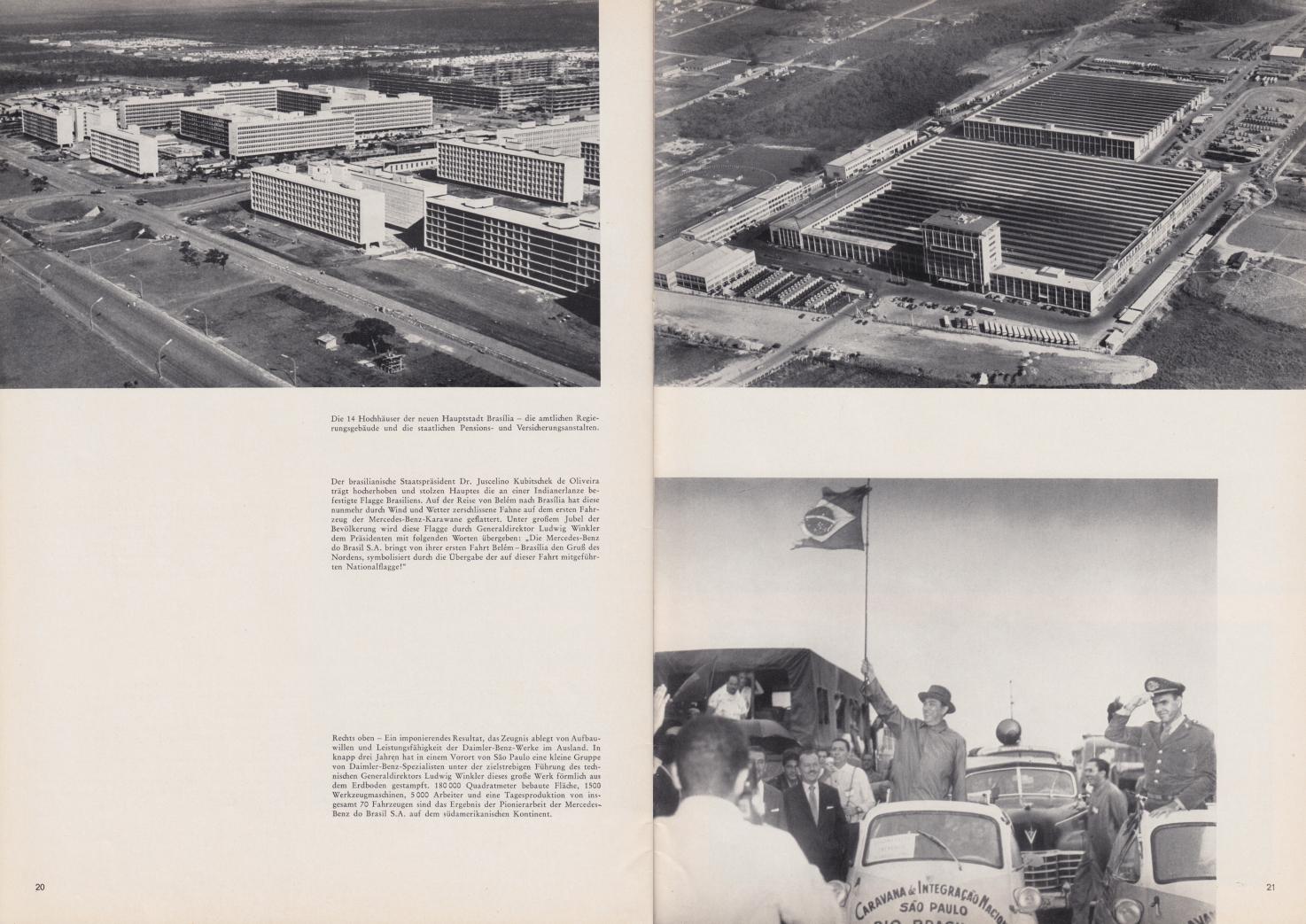 (REVISTA): Periódico In aller welt n.º 42 - Mercedes-Benz no mundo - 1960 - multilingue - com imagens do Brasil e construção de Brasília 013