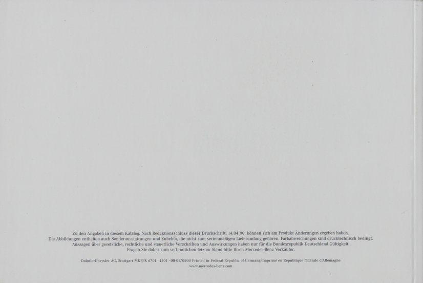 (W163): Catálogo 2000 - alemão 030